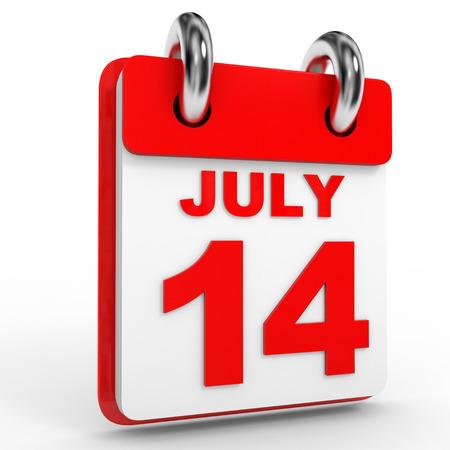 14: 14 july calendar on white background. 3D Illustration. Stock Photo