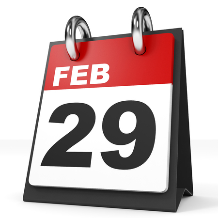 twenty ninth: Calendar on white background. 29 February. 3D illustration.