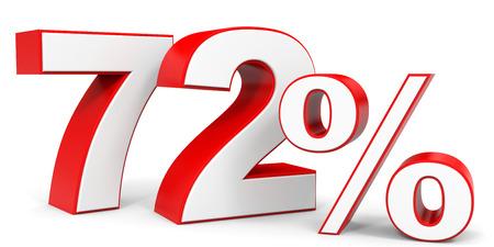 seventy two: Discount 72 percent off. 3D illustration.