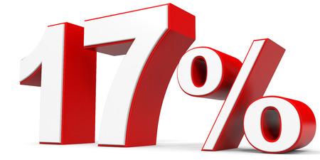 17: Discount 17 percent off. 3D illustration.