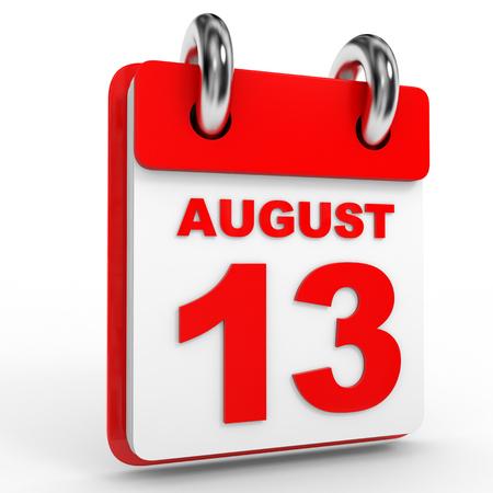 13th: 13 august calendar on white background. 3D Illustration.