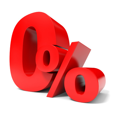 price hit: Red zero percent off. Discount 1%. 3D illustration.