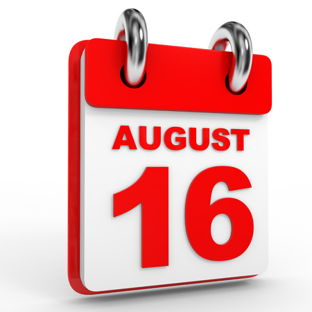 sixteenth note: 16 august calendar on white background. 3D Illustration.