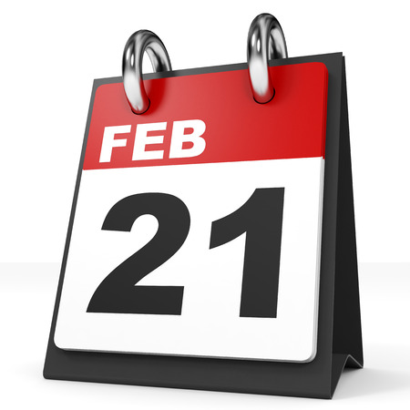 21: Calendar on white background. 21 February. 3D illustration. Stock Photo