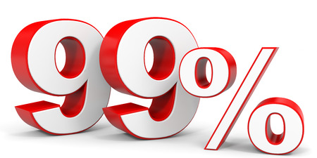 99: Discount 99 percent off. 3D illustration.