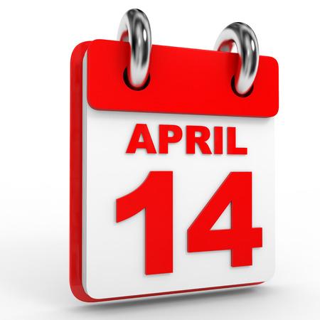 14: 14 april calendar on white background. 3D Illustration. Stock Photo