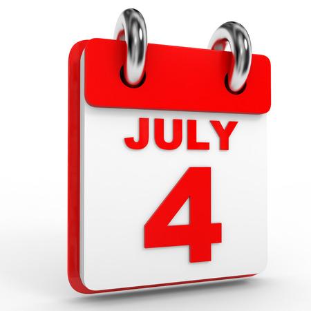 july calendar: Calendario de 4 de julio, sobre fondo blanco. Ilustraci�n 3D.