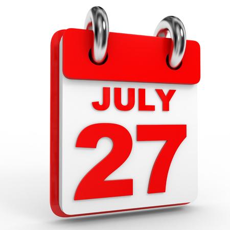 calendario julio: 27 Calendario julio sobre fondo blanco. Ilustración 3D.