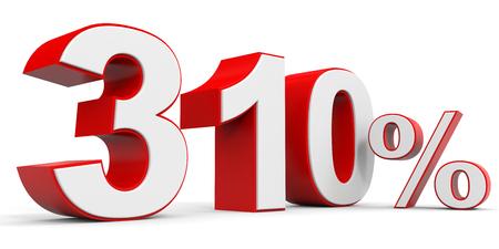 price hit: Discount 310 percent off. 3D illustration. Stock Photo