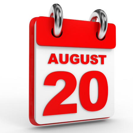20th: 20 august calendar on white background. 3D Illustration. Stock Photo