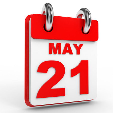 21: 21 may calendar on white background. 3D Illustration. Stock Photo