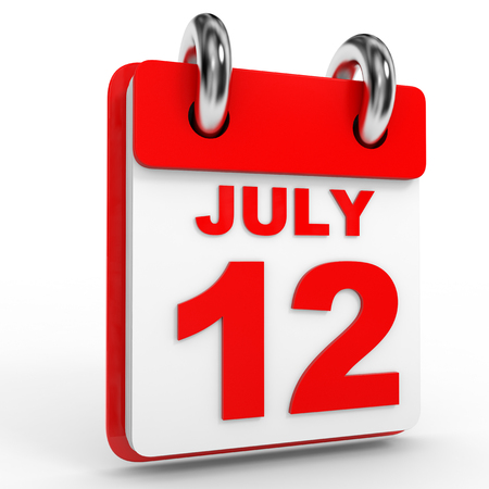 12: 12 july calendar on white background. 3D Illustration. Stock Photo