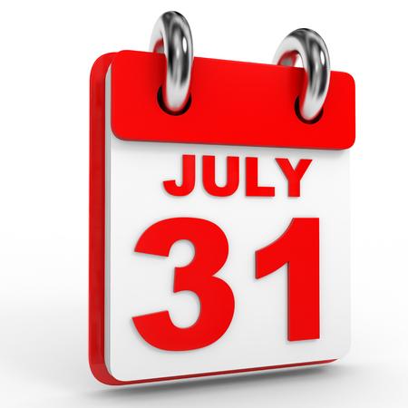 31: 31 july calendar on white background. 3D Illustration.