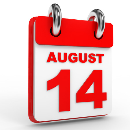 number 14: 14 august calendar on white background. 3D Illustration.