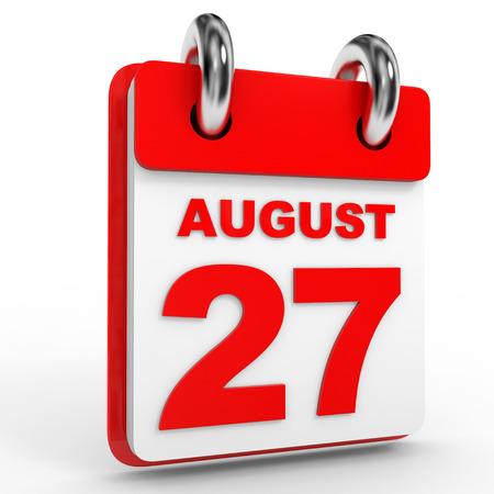 august calendar: 27 august calendar on white background. 3D Illustration.