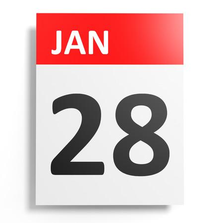 28: Calendar on white background. 28 January. 3D illustration.