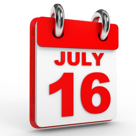 calendario julio: 16 Calendario julio sobre fondo blanco. Ilustraci�n 3D.