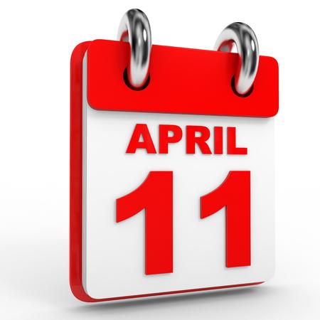 11 number: 11 april calendar on white background. 3D Illustration.