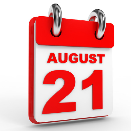 august calendar: 21 august calendar on white background. 3D Illustration.