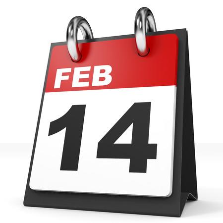 14 february: Calendar on white background. 14 February. 3D illustration.