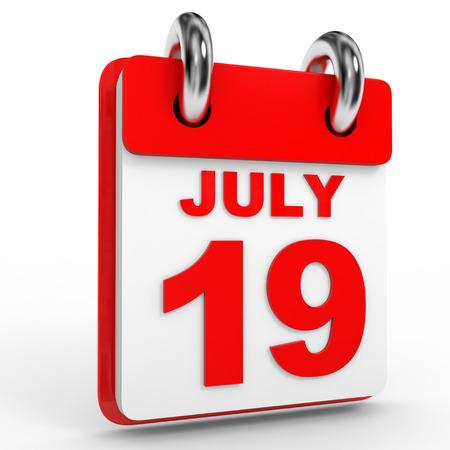 19: 19 july calendar on white background. 3D Illustration.