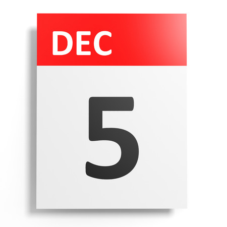 5 december: Calendar on white background. 5 December. 3D illustration.