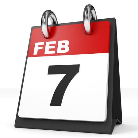 seventh: Calendar on white background. 7 February. 3D illustration.