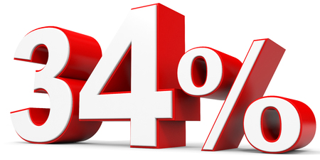 34: Discount 34 percent off. 3D illustration. Stock Photo
