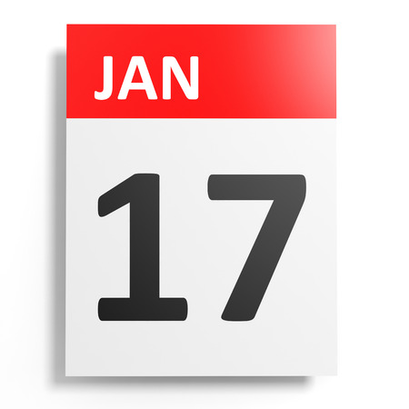 seventeenth: Calendar on white background. 17 January. 3D illustration. Stock Photo