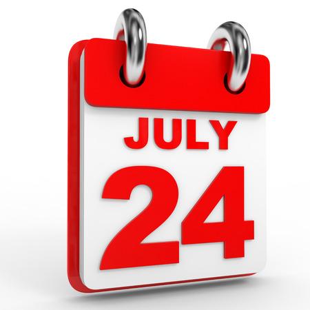 calendario julio: 24 Calendario julio sobre fondo blanco. Ilustración 3D.