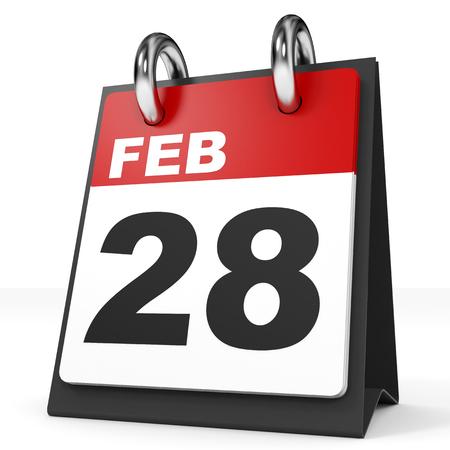 28: Calendar on white background. 28 February. 3D illustration. Stock Photo