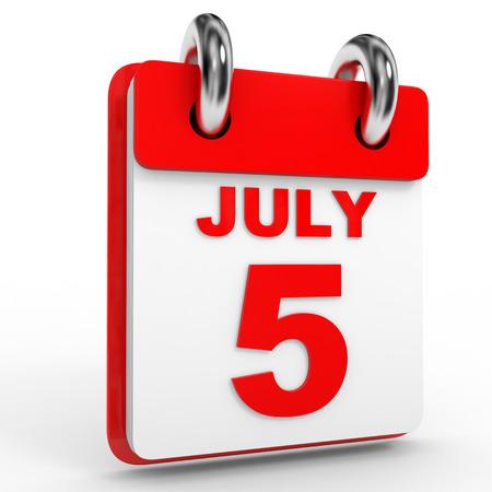 calendario julio: 5 calendario de julio sobre fondo blanco. Ilustraci�n 3D.