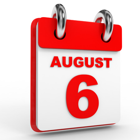 6th: 6 august calendar on white background. 3D Illustration. Stock Photo