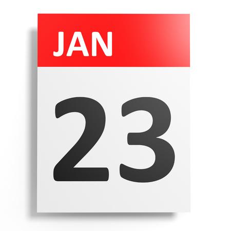 23: Calendar on white background. 23 January. 3D illustration. Stock Photo