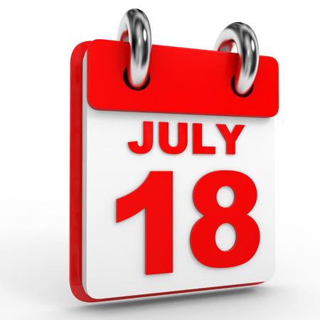 calendario julio: 18 july calendar on white background. 3D Illustration.