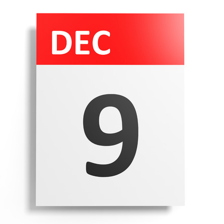 9th: Calendar on white background. 9 December. 3D illustration.