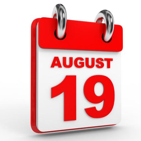 19: 19 august calendar on white background. 3D Illustration.