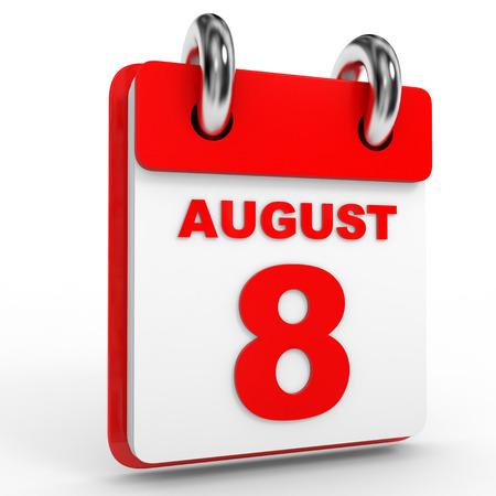 august calendar: 8 august calendar on white background. 3D Illustration. Stock Photo