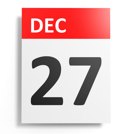 december: Calendar on white background. 27 December. 3D illustration.