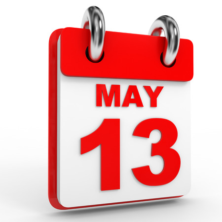13th: 13 may calendar on white background. 3D Illustration.