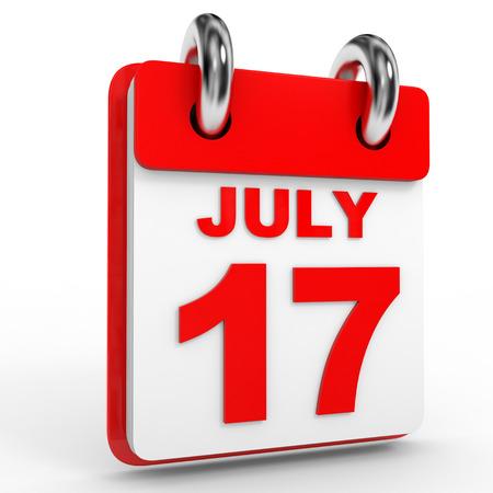 calendario julio: 17 Calendario julio sobre fondo blanco. Ilustración 3D.