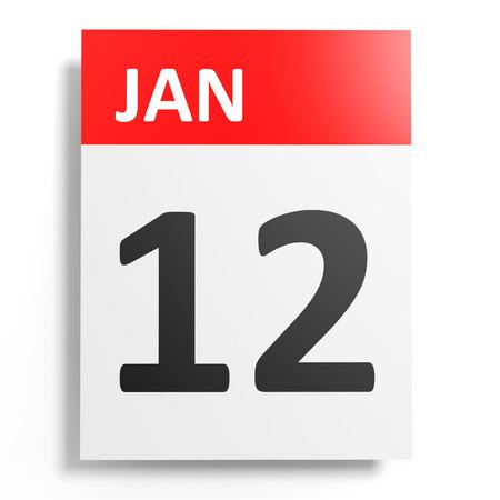 12: Calendar on white background. 12 January. 3D illustration.