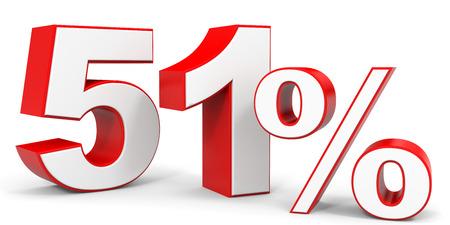 51: Discount 51 percent off. 3D illustration.