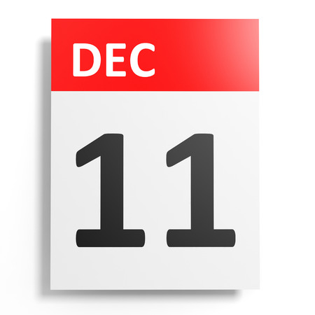 number 11: Calendar on white background. 11 December. 3D illustration.