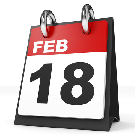 18th: Calendar on white background. 18 February. 3D illustration. Stock Photo