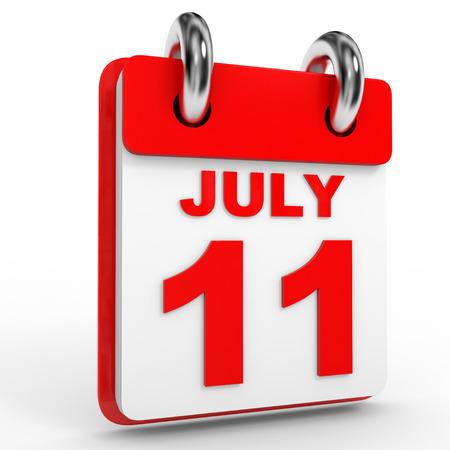 11 number: 11 july calendar on white background. 3D Illustration.