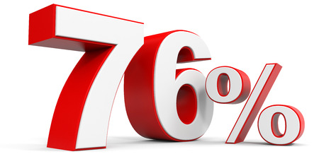 price hit: Discount 76 percent off. 3D illustration.