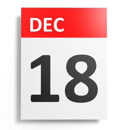18th: Calendar on white background. 18 December. 3D illustration. Stock Photo