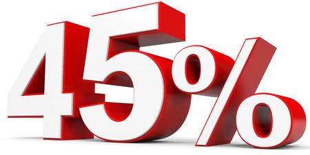 45: Discount 45 percent off. 3D illustration.