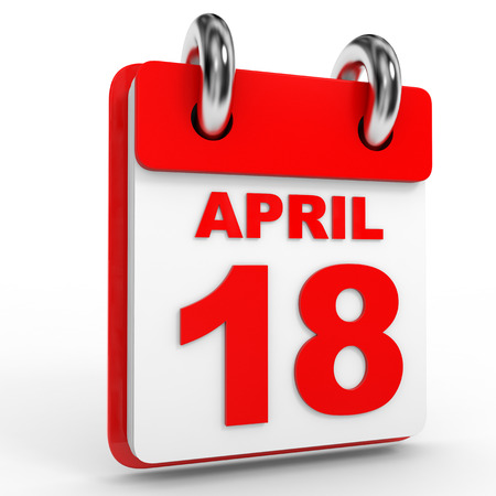 18th: 18 april calendar on white background. 3D Illustration.